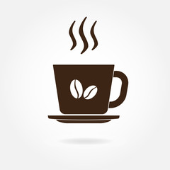 Coffee cup with coffee beans icon or sign. Vector illustration.