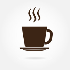 Cup of coffee or tea icon, Vector illustration.