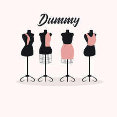 Large Set vintage mannequins female figure. Retro style . Vector
