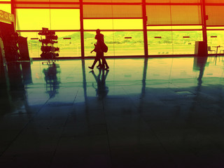 Airport Concept Travellers Boarding Path