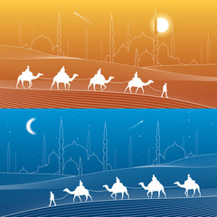 Caravan passes through the sand desert, dunes. Mosques and the tower on the horizon, white lines on blue  and orange background, day and night scene, vector design art