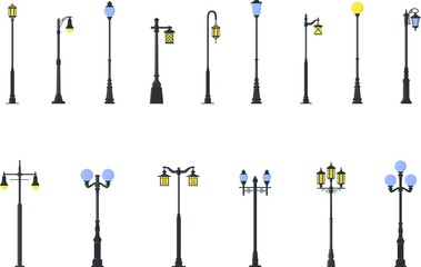 Set of different types of street lamps isolated on white background in flat style. Vector illustration.