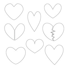 Set with Heart Contours