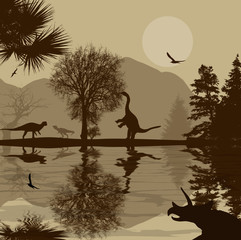 Dinosaurs silhouettes in beautiful landscape on retro style near water, vector illustration