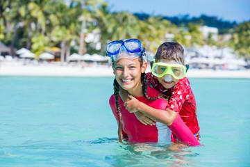Photo of snorkeling kids