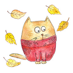 Cartoon cat in a knitted sweater with fallen leaves. Autumn illustration