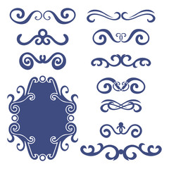 Set of blue abstract curly headers, design element set isolated on white background. Hand drawn navy blue swirls. Floral round frame, wreath, dividers, calligraphic shapes. Vector illustration.