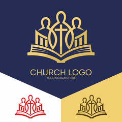 Church logo. Christian symbols. Bible, unity in Christ Jesus.