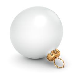 3D rendering White Christmas ball