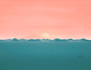 Geometric Mountain Landscape with Pastel Sky and Sun