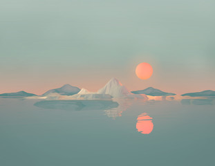 Geometric Mountain Landscape with Sun Reflecting on Water