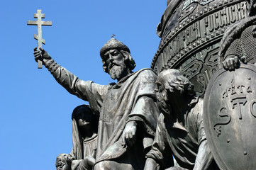 Part of Millennium of Russia Monument, Velikiy Novgorod. Statue of Vladimir the Great with Orthodox cross