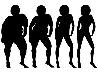 Four stages of a female slimming, silhouettes