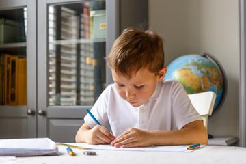 Children at their homework after school