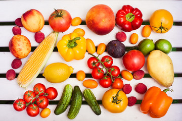 Vegetables and fruits background. Top view. Horizontal.