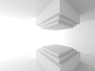 White Abstract Construction. Architecture Interior Design