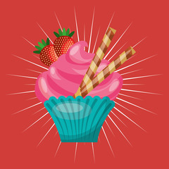 baked goods sweet cupcake vector illustration design