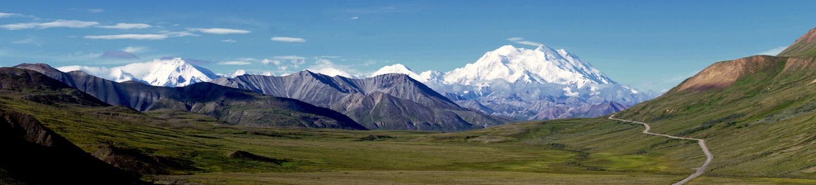 Panorama of Mt Denali, Denali National Park, Alaska