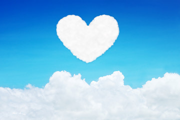 lonely heart shaped clouds on blue sky