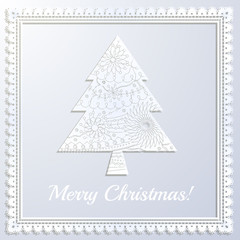 Merry Christmas white paper card with applique tree and frame