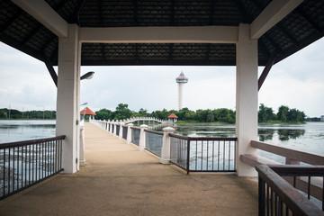 view of Chalermprakiat Tower,keoklangnam in SISAKET,THAILAND 2016
