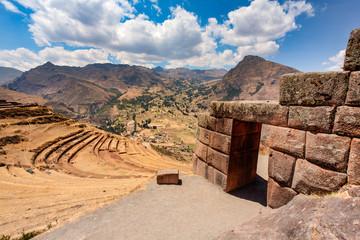 PISAC, CUSCO, PERU: Inca gate in Pisac.