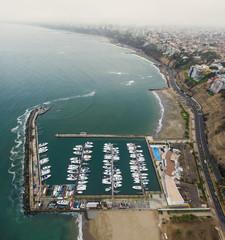 Aerial view of the Lima Marina Club circa 2016 in Lima, Peru.