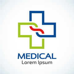 Medical cross health logo vector.