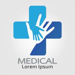 Medical logo Helping hands pharmacy sign symbol