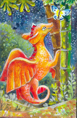 children's illustration of a dragon at night. Oil painting on ca
