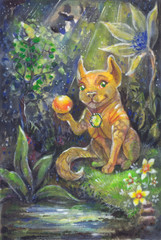 fabulous night forest. cartoon dog with a ball. painting inks on