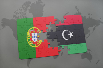 puzzle with the national flag of portugal and libya on a world map background.