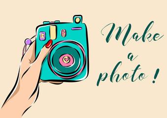 Illustration of hand holding a photo camera.