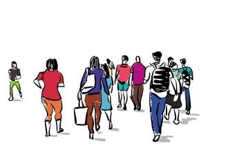 group of people walking free hand sketch