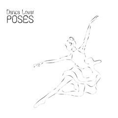 Abstract dancer line art; ballerina performance poses illustration.