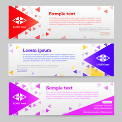 Abstract template banner with triangle pattern. Web banner with geometric shape background