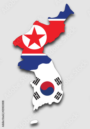 Map of the Korean Peninsula, Filled with the South and the North Korea Flag