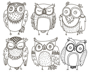Set of six doodle cute owls