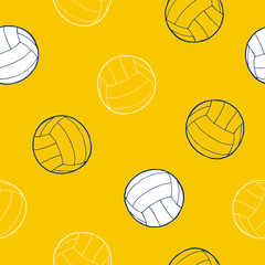 Volleyball sport ball graphic art yellow blue white background seamless pattern illustration vector