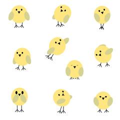 Set of birds. Cartoon collection. Raster copy.