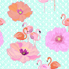 Seamless pattern with flamingos and peonies. Wallpaper, print, background. Vector.
