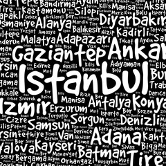 List of cities in Turkey word cloud pattern, concept background
