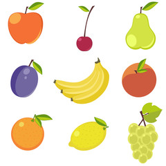 Fruits on white background. Stickers or decoration for menu, book and more. Collection of vector illustrations.