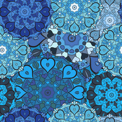 Lace blue seamless pattern on oriental style.