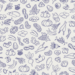 Fruits and vegetables seamless pattern. Food sketch style vectorbackground