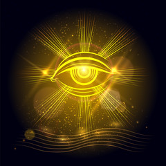 Spiritual eye or egypt eye of God on golden shining background. Vector illustration