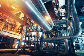 Industrial zone, Steel pipelines, valves and gauges