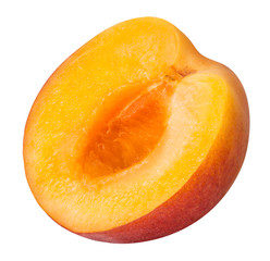 half ripe apricot isolated on a white background