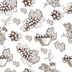 Seamless pattern of Bunch grapes sketch style vector illustration. Old engraving imitation. Hand drawn