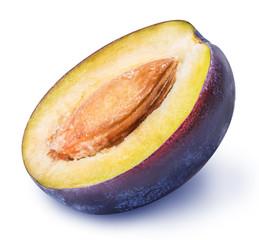 cut plum fruit isolated on white background